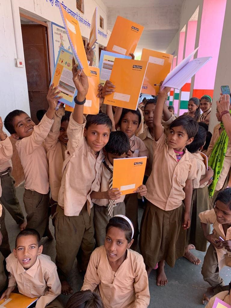notebooks distributed at the school